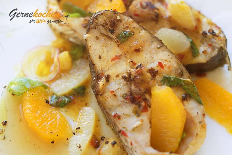 Gernekochen - Mit Wein genießen: Mariniertes Adlerfisch-Steak mit Zitrusfrüchten