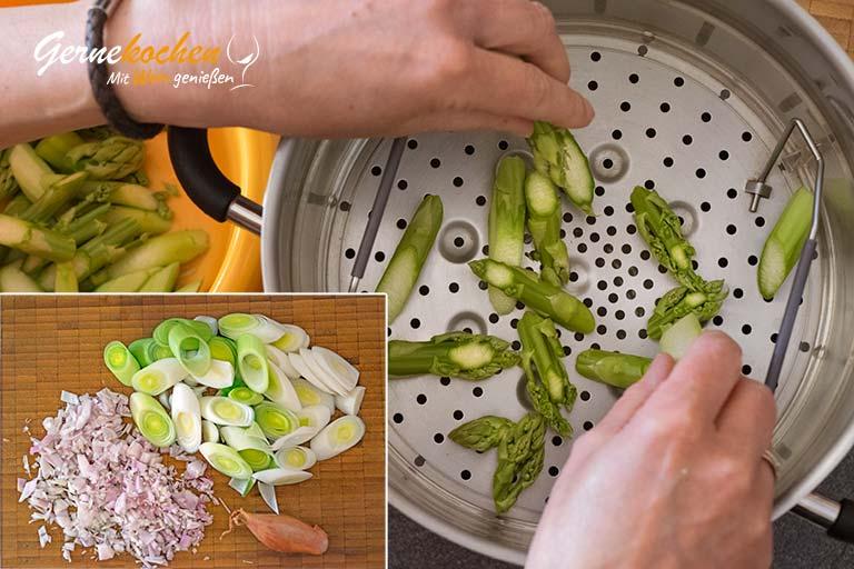 Kabeljaufilet auf Spargel-Lauch-Gemüse – Zubereitungsschritt 1