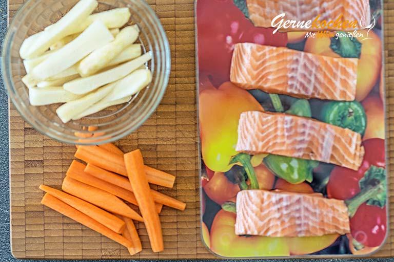 Lachs in Blätterteig mit Karotten und Topinambur - Zubereitungsschritt 1