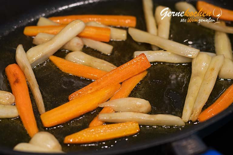 Lachs in Blätterteig mit Karotten und Topinambur - Zubereitungsschritt 5