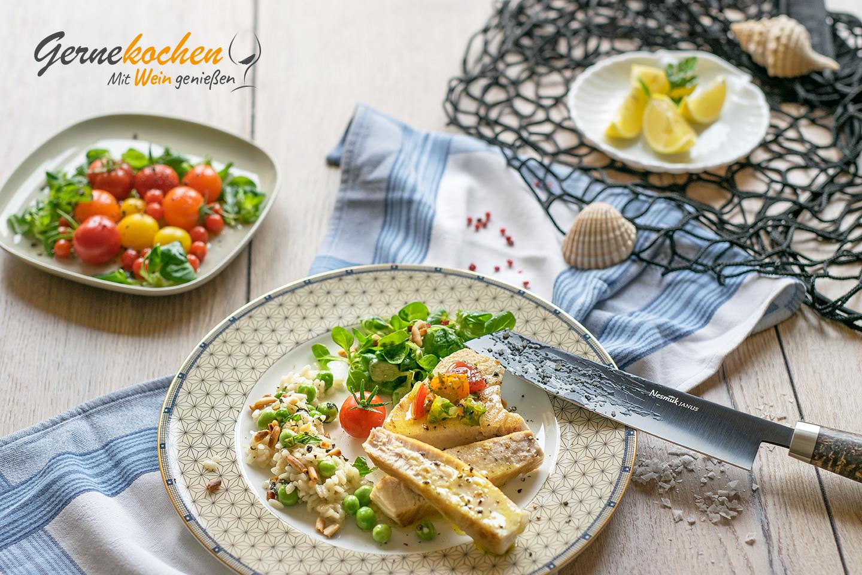 Thunfisch mit Erbsen-Minz-Risotto. Gernekochen mit Wein.