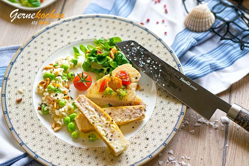 Thunfischsteak mit Erbsen-Minz-Risotto