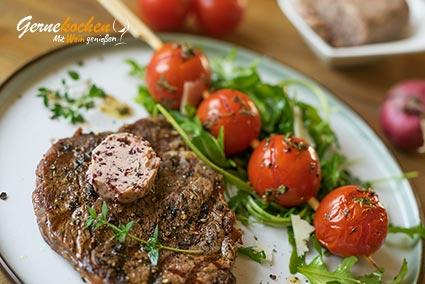 Rezept Entrecôte-Steak mit Rotweinbutter auf mediterrane Art