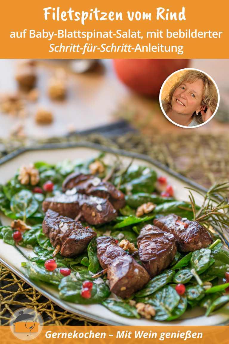 Filetspitzen vom Rind auf Baby-Blattspinat. Gernekochen - Mit Wein genießen