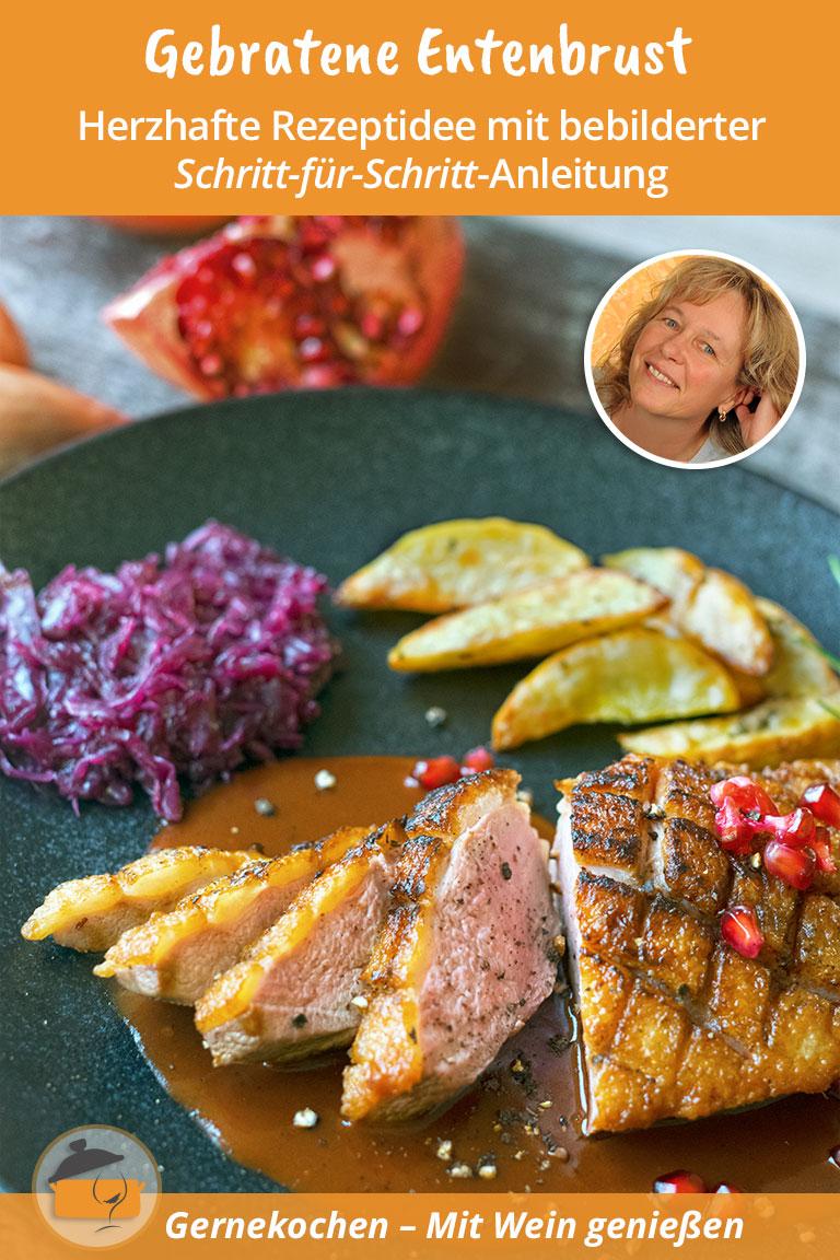 Gebratene Entenbrust mit Granatapfel-Rotwein-Sauce