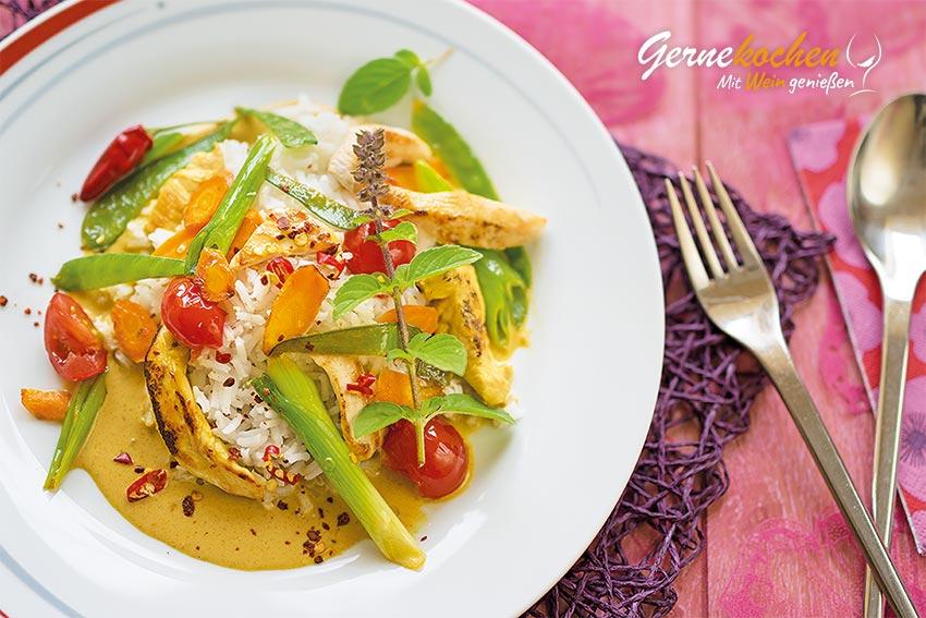Thailändisches Hähnchen-Curry. Gernekochen - Mit Wein genießen