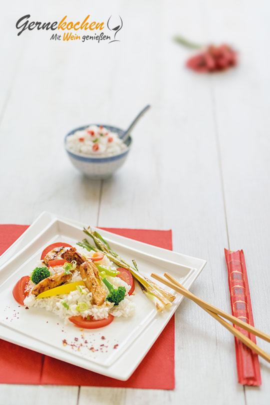 Gernekochen - Mit Wein genießen: Chinesische Wokpfanne mit Hähnchenbrustfilets