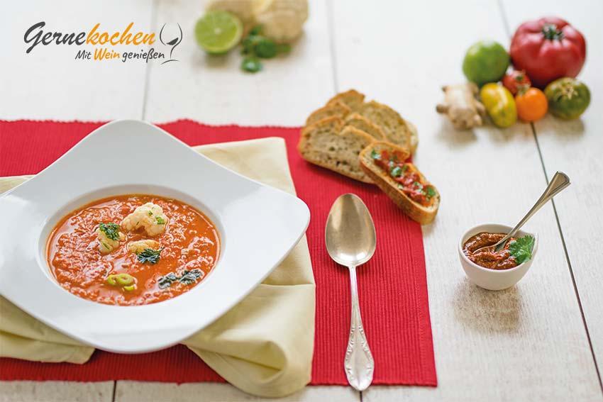 Thai-Tomatensuppe mit Kokosmilch. Gernekochen - Mit Wein genießen