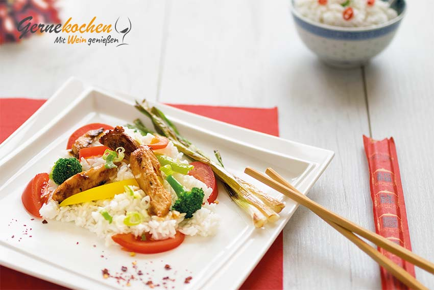 Wok-Gemüsepfanne mit Hähnchen Rezept