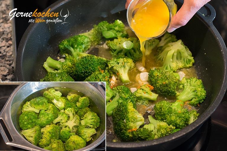 Broccoli-Gemüse - Zubereitungsschritt 2, 3 und 4