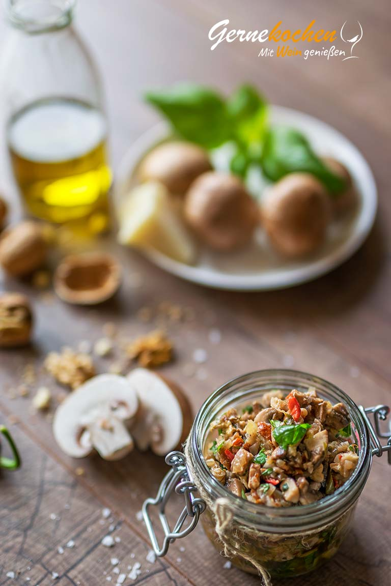 Champignon-Pesto. Gernekochen - Mit Wein genießen