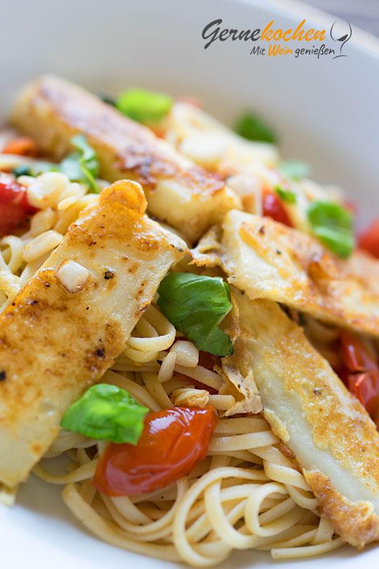 Frittierte Schwarzwurzeln mit Pasta und Pesto. Gernekochen mit Wein