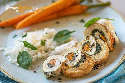 Gefüllte Putenrouladen mit Acquerello-Reis und gebratenen Möhren Rezept