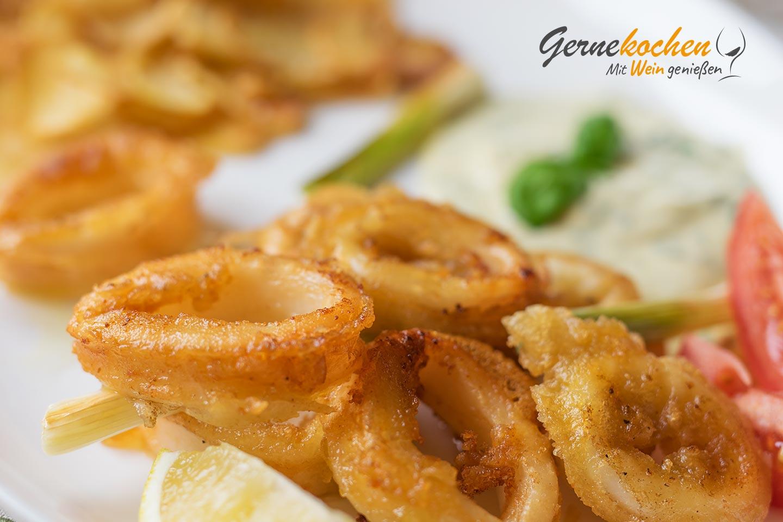 Kalamaria tiganita, frittierte Tintenfischringe, Calamari fritti