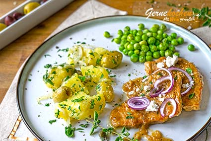 Griechische Kalbsschnitzel (Sofrito) Rezept