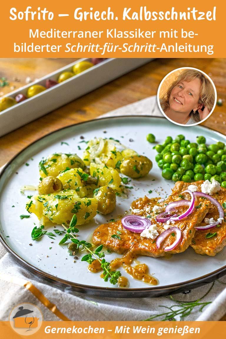 Griechische Kalbsschnitzel (Sofrito) mit mediterranem Oliven-Kartoffelsalat