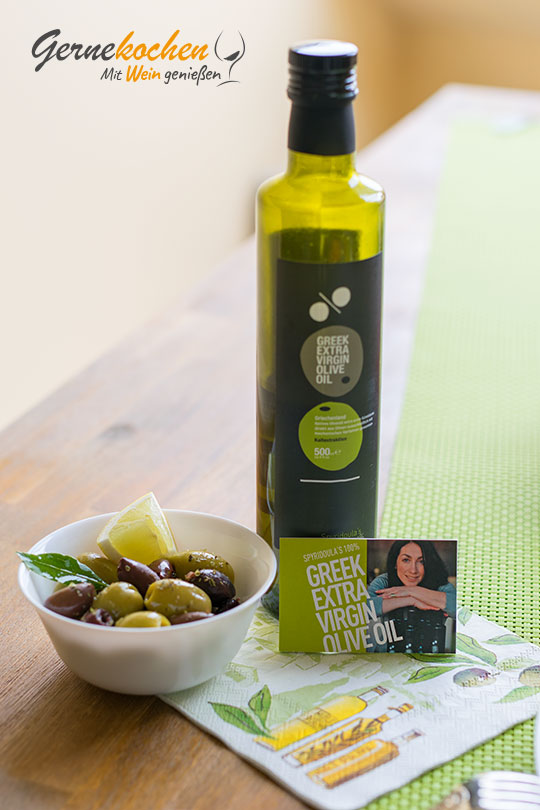 Gernekochen - Mit Wein genießen: Spyridoula's mild-aromatisches Olivenöl