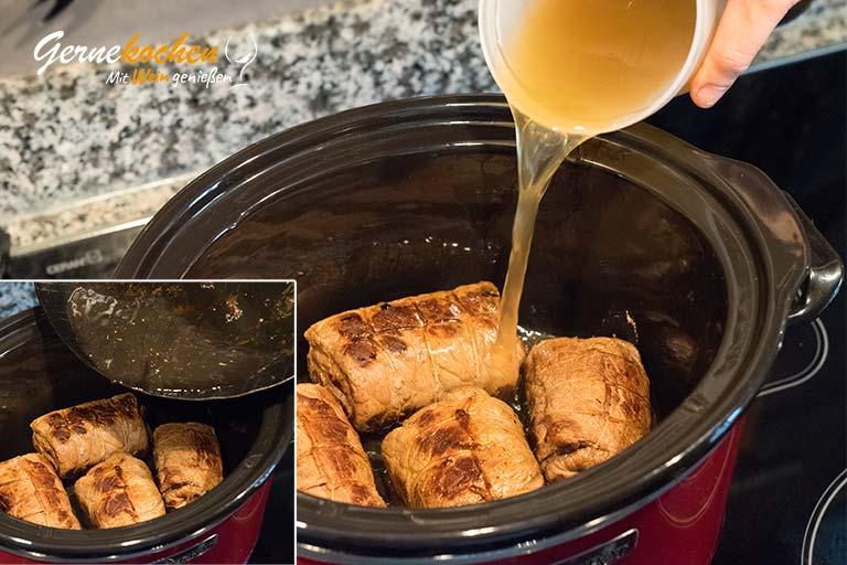 Mediterrane Rouladen mit Frühlingszwiebeln und Feta – Zubereitungsschritt 4