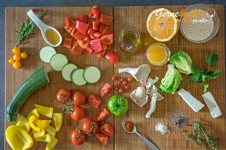 Mediterranes Ofengemüse mit Sardellen, Austernpilzen und Quinoa – Zubereitungsschritt 1