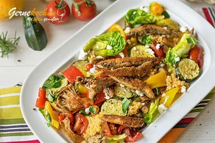 Mediterranes Ofengemüse mit Sardellen, Austernpilzen, Feta und Quinoa