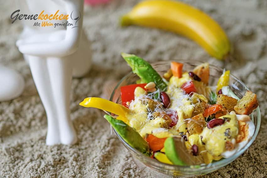Banana Beach-Salat. Gernekochen - Mit Wein genießen