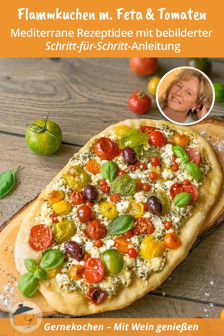 Flammkuchen mit Feta und Tomaten