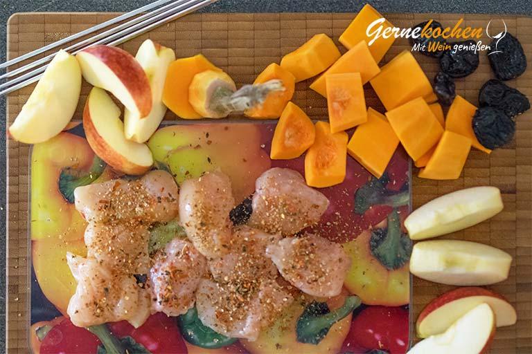 Apfel-Kürbis-Spieß mit Hähnchenfilet - Zubereitungsschritt 1.1