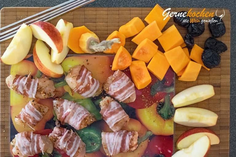 Apfel-Kürbis-Spieß mit Hähnchenfilet - Zubereitungsschritt 1.2