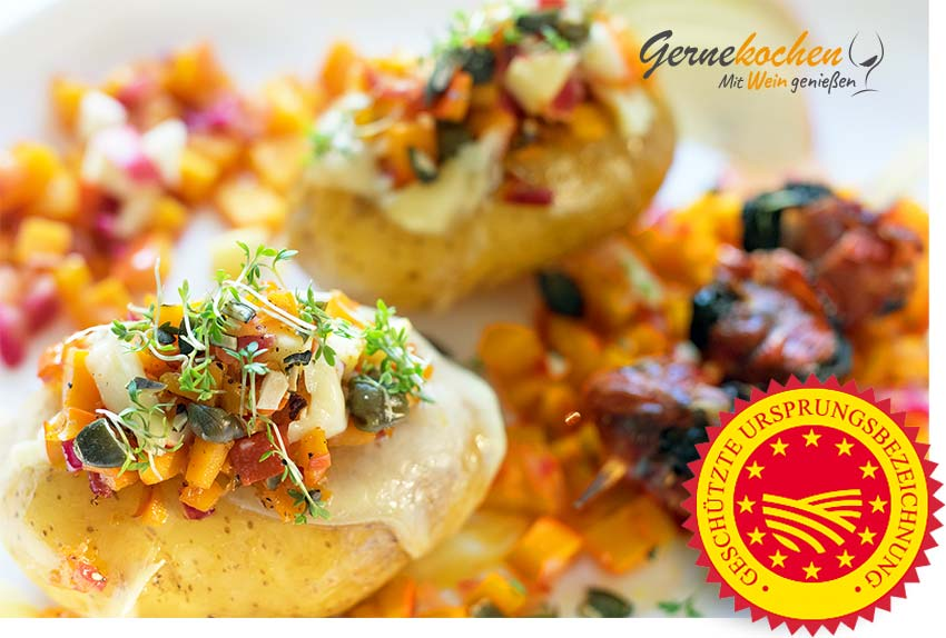 Ofenkartoffeln mit Apfel-Kürbis-Mix. Gernkochen Food Blog