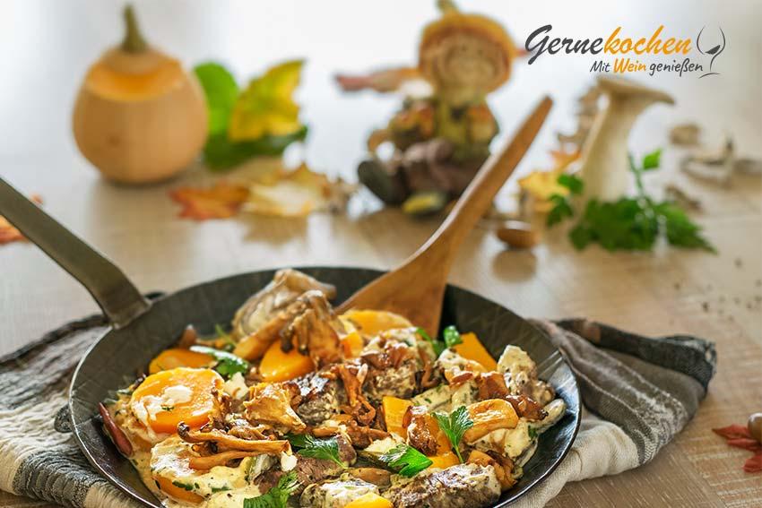 Rinderragout mit Kürbis und Pilzen. Gernekochen mit Wein