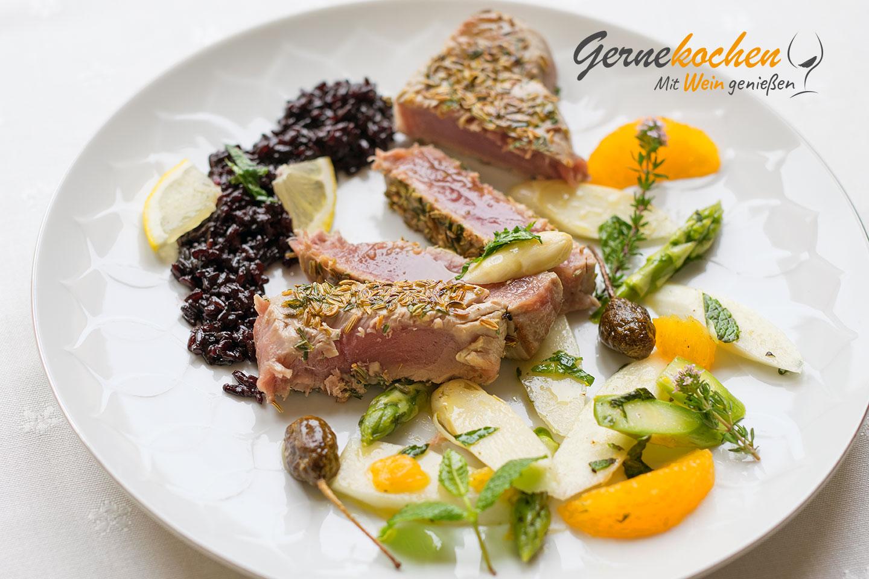 Thunfisch medium rare. Gernekochen - Mit Wein genießen