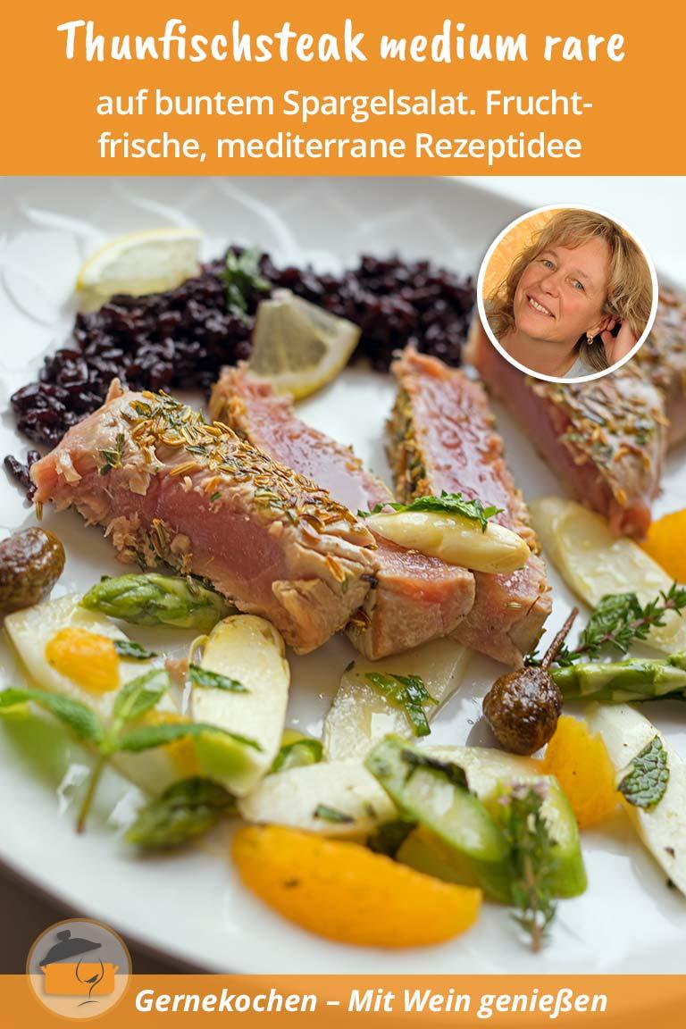 Thunfischsteak medium rare. Gernekochen - Mit Wein genießen