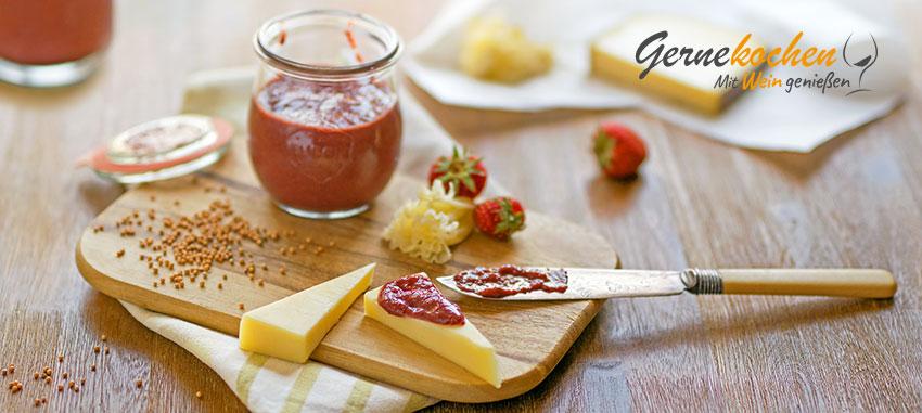 Erdbeersenf premium. Gernekochen - Mit Wein genießen
