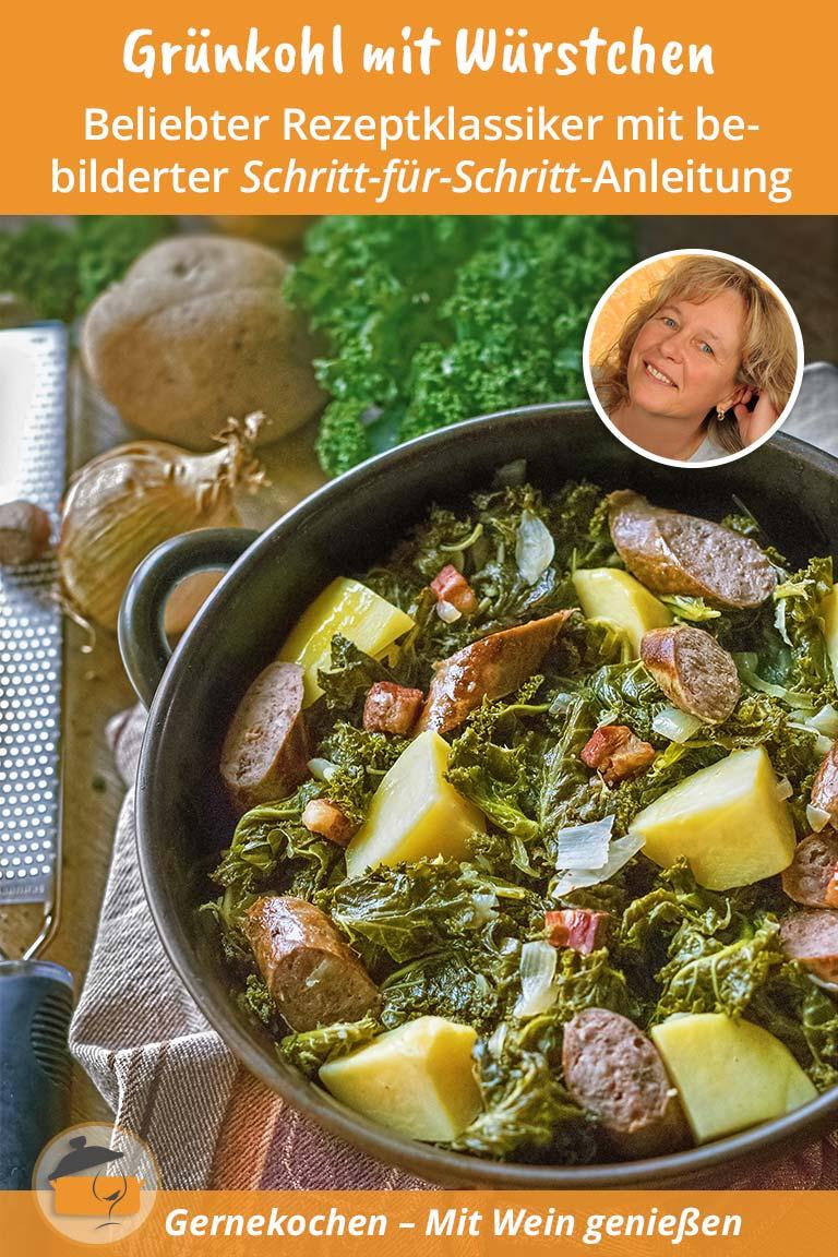 Grünkohl mit Kartoffeln, Würstchen und Speck