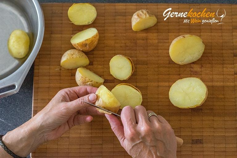 Kartoffelstroh mit Spiegelei und Spinat - Zubereitungsschritt 2.1