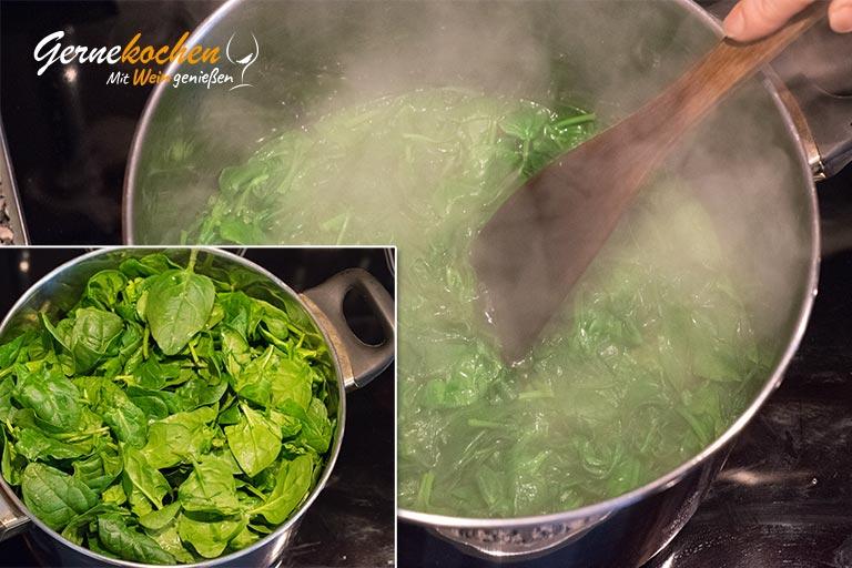Kartoffelstroh mit Spiegelei und Spinat - Zubereitungsschritt 4