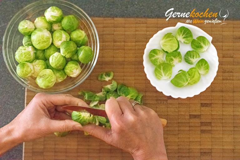 Rosenkohl-Gemüse - Zubereitungsschritt 1