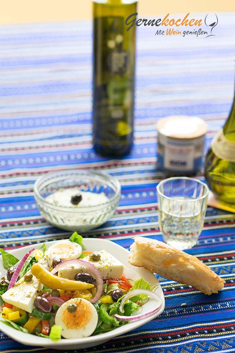Griechischer Salat mal anders. Gernekochen - Mit Wein genießen.